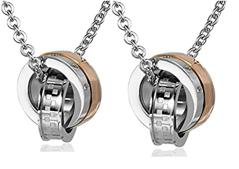 Daesar Hers & Hers Necklace Set Couples Stainless Steel Cubic Zirconia Rings Pendant