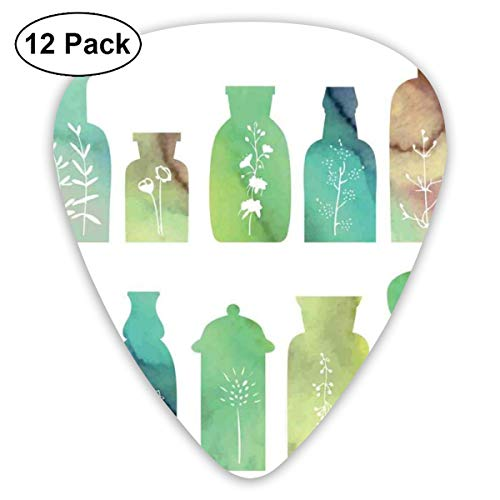 Guitar Picks12pcs Plectrum (0.46mm-0.96mm), Vintage Watercolor Botanical Herbal Treatment Bottles Medicine Aromatic Nature,For Your Guitar or Ukulele