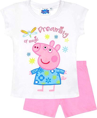Hello Kitty Hose (Peppa Wutz Schlafanzug Shorty Mädchen Kurz Peppa Pig (Weiß-Rosa, 116))
