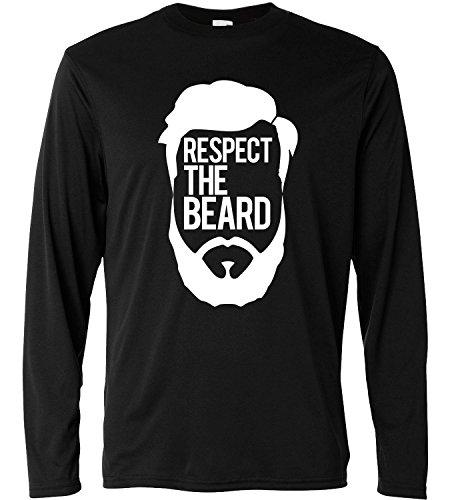 "T-shirt a manica lunga Uomo - ""Respect the beard"" - Long Sleeve 100% cotone LaMAGLIERIA, M, Nero"