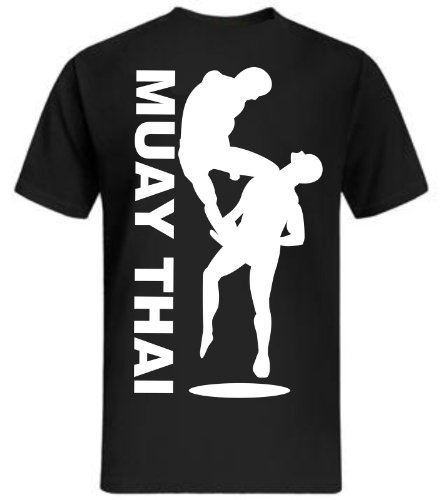Muay Thai Knie T-Shirt MMA Fight Club Contact Sports Fight Shirt Boxen Schwarz