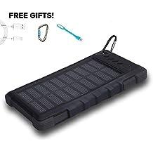 Solar Power Bank 12000mAh, PowerLocus® Solar Ladegerät Batterie für iPhone Android-Handy Samsung iPad Tablet Camera GPS, Dual USB Port Tragbares Schnittstelle Externer Akku Backup Wasserdicht Stoßfest Staubdicht (Schwarz)