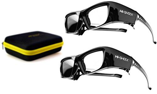 2X Hi-SHOCK® RF / BT Pro Black Diamond & Dualcase | Aktive 3D Brille für EPSON 3D Beamer | komp zu ELPGS03, TW9200W, EH-TW9200, EH-TW9100W, EH-TW8100, EH-TW7200 [120 Hz wiederaufladbar] - 120-hz-lcd-tvs