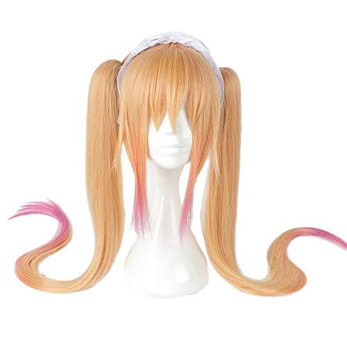 NiceLisa Mädchen Lange Gerade Orange Rose Haar Anime Cosplay Perücken mit Clip On Pony Ohne Stirnband (Halloween Maid Haar)