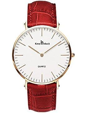LadyHelena® Damen-Armbanduhr Analog elegant Quarzuhr Uhr modisch Zeitloses Design rose gold Rot Leder