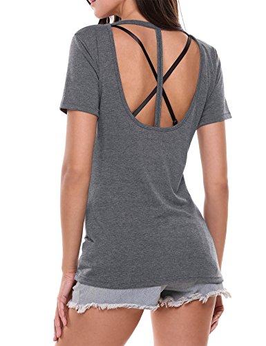HOTOUCH Damen Sommer Shirt Tee Shirt Loose Fit Kurzarm Freizeit Baumwolle Grau M (Damen Knitterfrei Shirt Baumwolle)