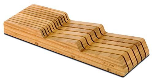 Arcos Tacos - Taco Cajonera Organizador cuchillos ARCOS para cajón de hasta 25 cm - Hecho de Bambú - Tamaño 39x432x139 mm - Color Marrón