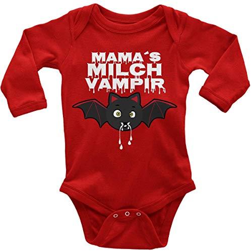 t Spruch für Jungen Mädchen Unisex Langarm Mamas Milch Vampir | handbedruckt in Deutschland | Handmade with Love, Farbe:rot, Grösse:56 ()