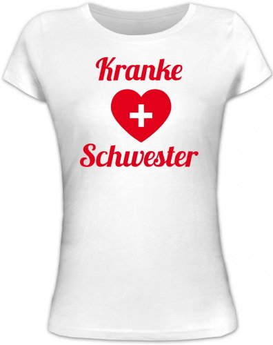 Shirtstreet24, Fasching - Kranke Schwester, Kostüm Karneval Lady / Girlie T-Shirt Fun Shirt, Größe: XL,weiß (Krank Kostüme)