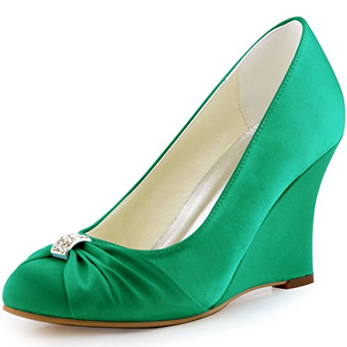Elegantpark EP2005 bout Rond Crinkling Satin Boucle Coin Bas Femmes Chaussures de Mariee Vert