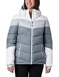 Columbia Abbott Peak Insulated Chaqueta De Esquí con Capucha, Mujer, Gris, Blanco (Grey Ash/White/Cirrus Grey), S
