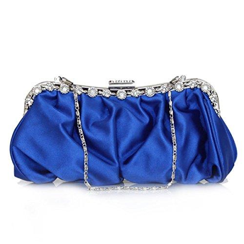 Donne Fibbia Magnetica HandBag Raso Plissettato Clutch Wedding Bag Nuziale Di Promenade Di Sera SapphireBlue