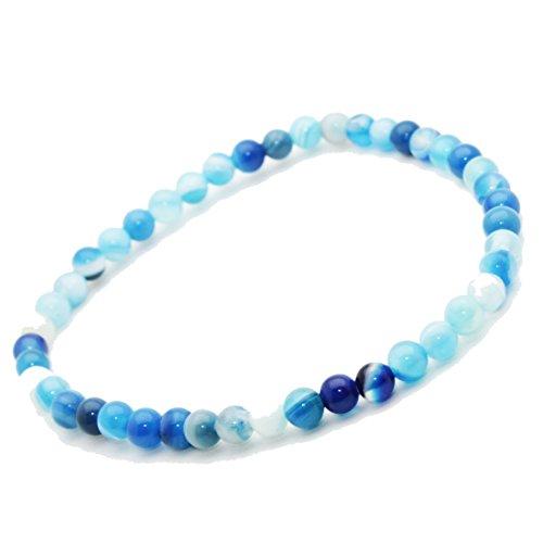Bracelet Agate Bleu pierre semi précieuse perles 4 mm. Pierre APAISANTE