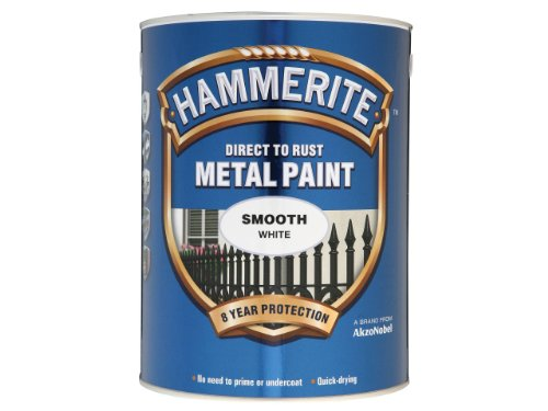Hammerite 5084861 Direct to Rust Metal Paint 5 L - Smooth White