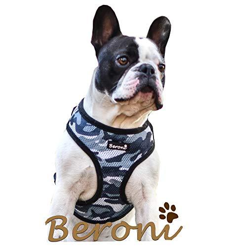 Hundegeschirr Französische Bulldogge Brustgeschirr Softgeschirr French Bully weich gepolstert verstellbar Camouflage schwarz-grau Mesh