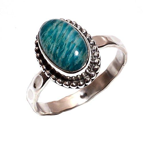925argento sterling anello uk t 1/2, amazonite naturale artigianale donne gioielli r3925