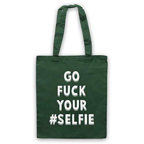 Vai A Fanculo Il Tuo Selfie Divertente Con Il Mantello Dello Slogan Verde Scuro