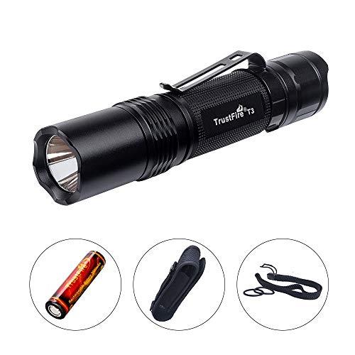 TrustFire T3 LED Taschenlampe 1000 Lumen hell mit CREE XPL-HI-V3-LED 5 Modi taktisch für EDC, Camping, Wandern, Hundespaziergang und andere Outdoor-Aktivitäten (1 x 18650 Akku 3000mAh enthalten) -