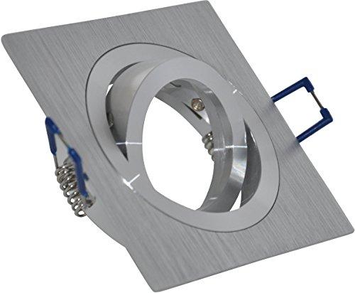Spot encastrable carré en Aluminium brossé | | orientable | Convient pour ampoule LED et halogène 50 mm | Douille MR16 12 V et 230 V GU10 inclus