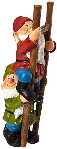 Garden Gnome Statue - Up the Ladder Climbing Gnomes - Outdoor Garden Gnomes - Funny Lawn Gnome