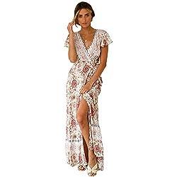 Starlifey Vestido Estampado Floral Bohemio con Cuello en V y Manga Corta de Split para Mujer en la Playa Fiesta Vestido Largo