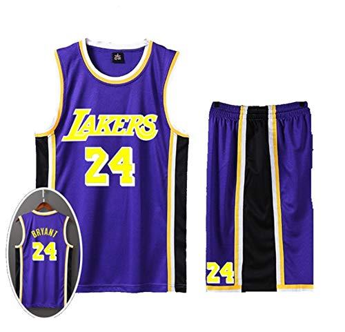 Kinder- und Unisex-Basketball-Set - Sommer-Basketballanzug Kobe 24 Classic Bestickte ärmellose Oberteile und Shorts (Size : XXL) -