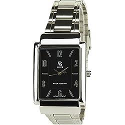 GG LUXE -Herren Armbanduhr schwarz Quarz Rechteck Gehäuse Stahl Analog Display Typ Water resist 30M-3ATM Armband Stahl Silber