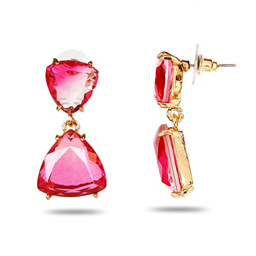 YouBella Jewellery Earrings for women stylish Latest Design Crystal Earrings for Girls and Women (Pink)