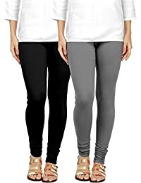 Ancientstar Churidar Cotton Leggings For Women's And Girls (6XL, Black And Grey)