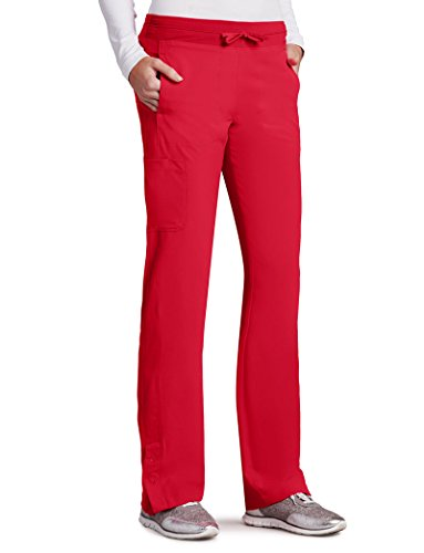 Barco One Women's 5205 Low Rise Knit Waist Cargo Track Scrub Pant- Racer Red- 3X-Large (Barco Scrubs)
