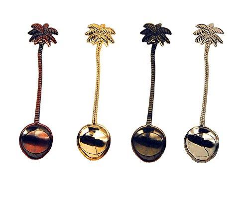 HENGRUI Cuchara Pequeña Creativa Serie de Coco Tropical Árbol pequeña Cuchara,Un Juego de 4 Piezas
