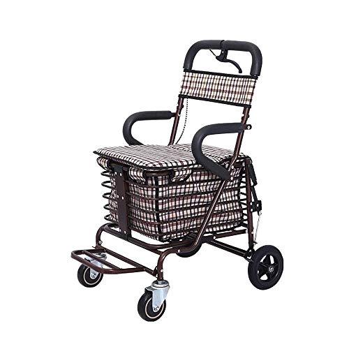 Einkaufskörbe, Trolley Leichte Aluminiumlegierung Faltbare Tragbare Rollator The Elderly Warenkorb Mit Einkaufskorb (Farbe: B) -