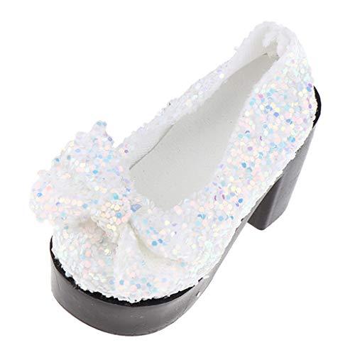 F Fityle 1 Paar Weiße Bling Bling Schuhe High Heels Plateauschuhe mit Schleife Für 1/4 BJD-, OB-, PB-Puppen Dress-up Zubehör