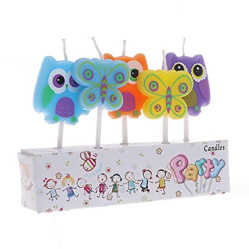 Enyu Party Supply 5 Stück Cartoon-Kerzen Happy Birthday Kuchen-Dekoration Butter&owl