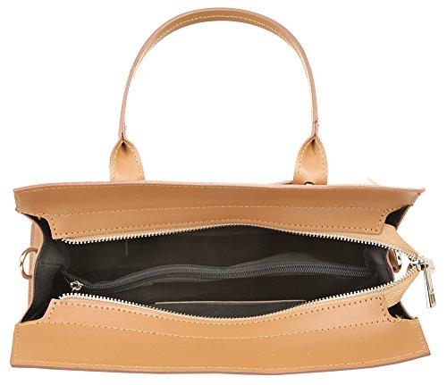 CLUTY Handtasche ECHT LEDER Damen Mittel 018994 Cognac