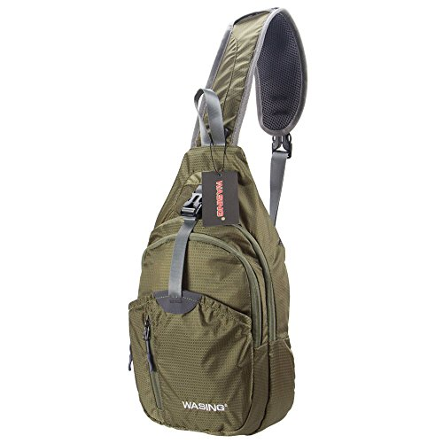 Wasing Military Sport Pack Schulter-Sling Rucksack Herren Damen Gym Bag, Rover Sling Pack Brust Pack, L-Green -