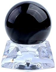 Jovivi 1pcs 34-36mm Pièrre Naturelle Boule Bibelot Maison Décoration - Obsidienne Naturelles Tibétin Bouddhiste avec Piédestal Arylique + Croffet Cadeau