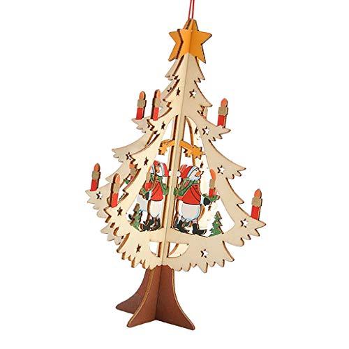 FLAMEER Mini Weihnachtsbaum Figuren Miniatur Anhänger Schmuck Weihnachtsdeko für Tannenbaum Fenster und Tisch, aus Holz - A