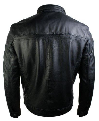 63e8a25bf6136 Veste homme style rétro zippée biker cuir véritable doux vintage noir chic  et décontracté