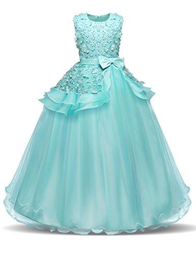 NNJXD Madchen Armellos Stickerei Prinzessin Festzug Kleider Abschlussball Ballkleid, Grün, 13-14 Jahre / Herstellergröße: 170