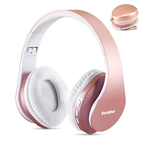 Daibo Cuffie Bluetooth, Cuffia Wireless Over Ear Bluetooth 5.0 W/Microfono Integrato e modalità modalità Cavo Cablato per iPhone Samsung Huawei iPad (Rose Gold)
