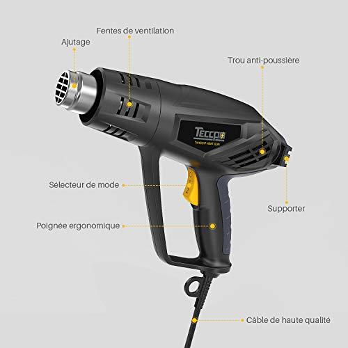 Pistola de Aire Caliente 2000W 240V,  Función de Enfriamiento Innovadora de 1 Minuto,  TECCPO,  3 Temperaturas 50- 550 ℃,  Velocidad del Viento 500L / Min,  7 Accesorios de Metal -  TAHG01P