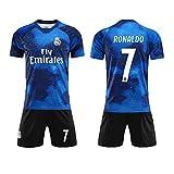 AYanZi Fußballanzug, Real Madrid Trikot, Nr. 7 C Ronaldo Fußballuniform, CR7 Fußball Jungen T-Shirt