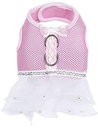POPETPOP Pet Dog Mesh Stoff Brustgeschirr Kleid Robe - Größe XS (Pink)