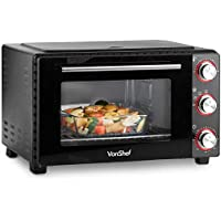 VonShef 35L Mini Oven Cooker and Grill with 3 Cooking Functions, Adjustable Temperature Control and Timer – Accessories Included - 1600W