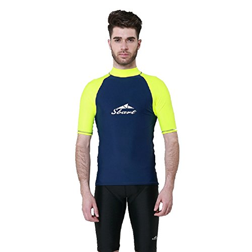 Bademode-körper-handschuh (SANKE Herren UV Sonnenschutz Rash Guard Kurzarm Kompression Crew Schwimmen Tops)