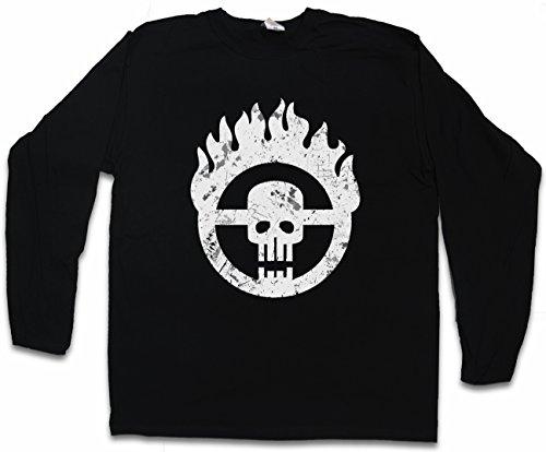 "Skull Wheel Insignia ""J"" Langarm Long Sleeve T-Shirt – Scrotus Mad Miller Main Force Patrol Furiosa Max Thunderdome Gibson Hardy Mel Tom Australia Größen S - 2XL (Gibson Langarm-shirt)"