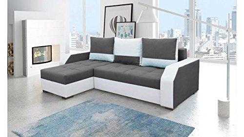 JUSTyou Aris Canapé d'angle Sofa canapé lit Tissu Cuir écologique (HxLxl): 90x245x150 cm Blanc Gris Angle gauche