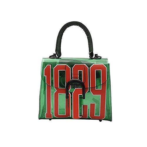FUFUFUCHEN Einzelne Umhängetasche Fashion Jelly Crystal Transparente Strandtasche Druck Handtasche Schulter Umhängetasche,Grün