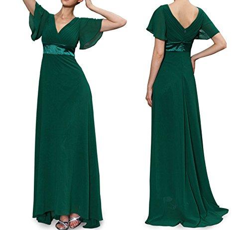 Robe de soirée longue col V manches mousseline Vert foncé